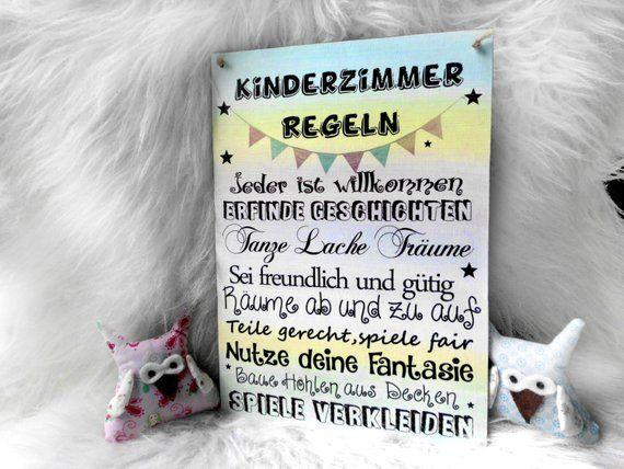 Kinderzimmer Regeln Türschild Wandschild Holz Schild (mit