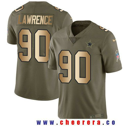 Women's Dallas Cowboys #90 DeMarcus Lawrence Nike Olive Salute to Service Limited Jersey