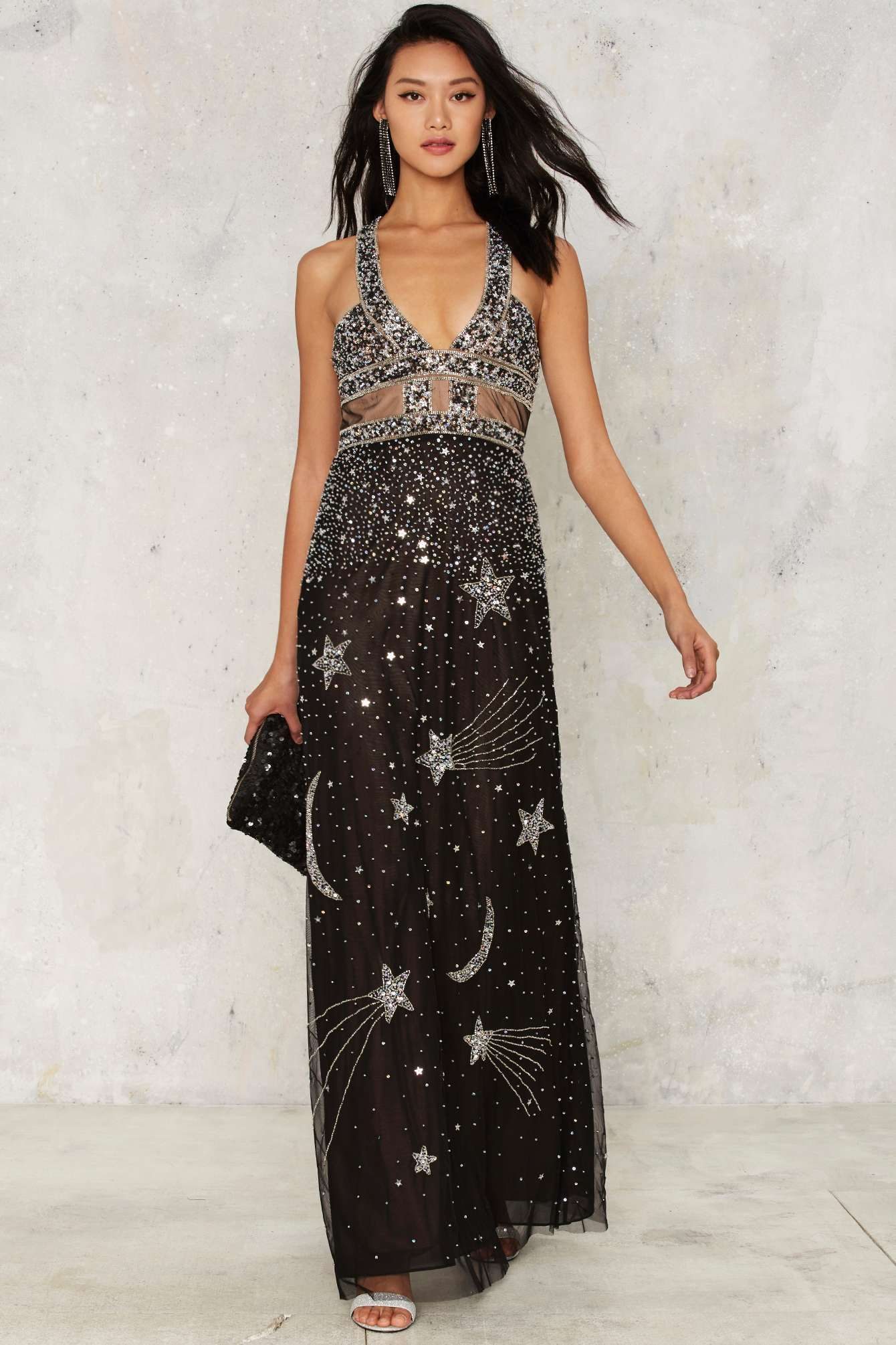 Nasty Gal Collection Dancing Out In Space Beaded Maxi Dress Shop