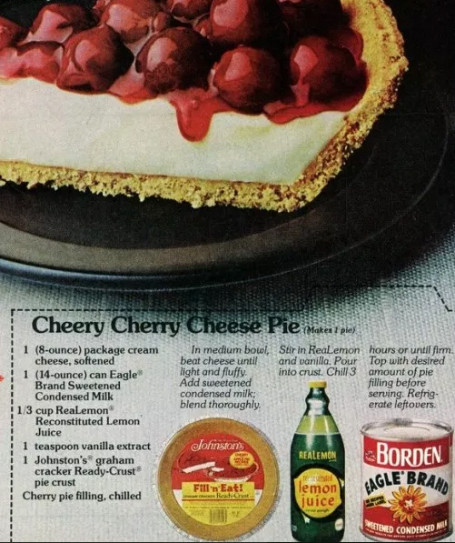 Cheery Cherry Cheese Pie Eagle Brand Sweetened Condensed Milk Lemon Juice Cream Cheese No Ba In 2020 Easy Cheesecake Recipes Cream Cheese Recipes Cherry Desserts