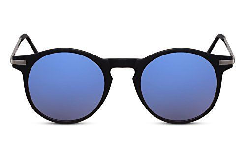 75d6ff7dbe Cheapass Lunettes de soleil Rondes Noires Bleues UV-400 Effet Miroir Rétro  en Métal en