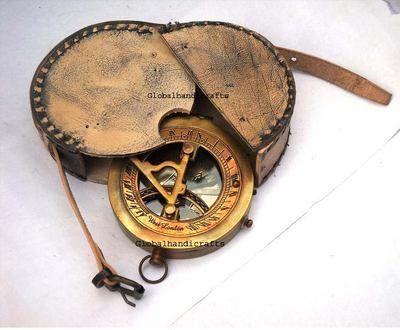 """Brass Sundial Compass Vintage Nautical Retro Steampunk Wooden Teak Box 3/"""" Inch"""