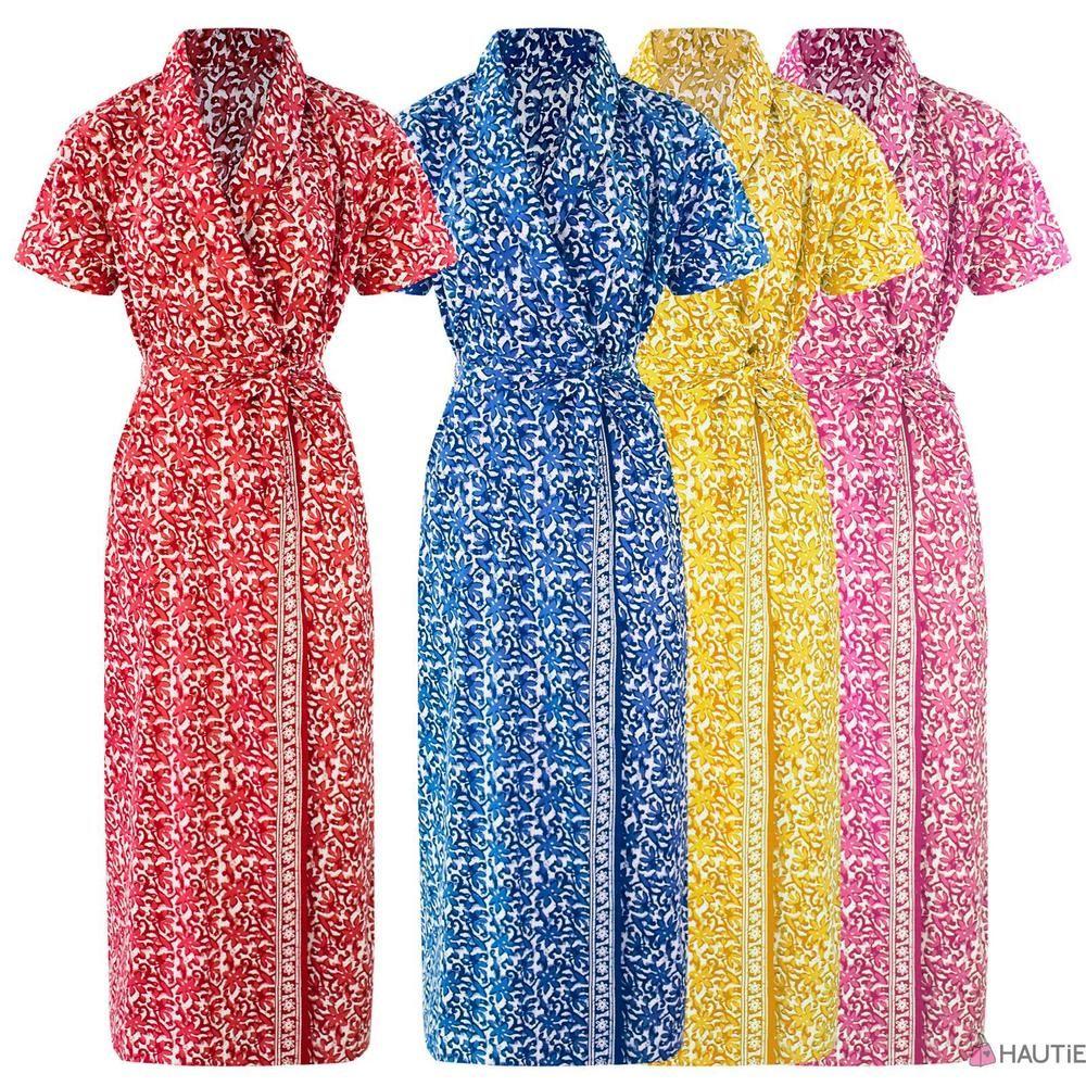 New womens 100% cotton summer dressing gown robe ladies bath robe ...