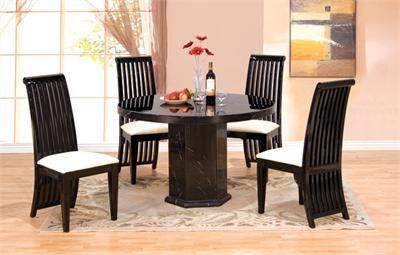 Vittoria Round Black Marble Dining Table With Chairs