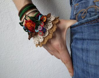 freeform crochet cuff colorful beaded by irregularexpressions