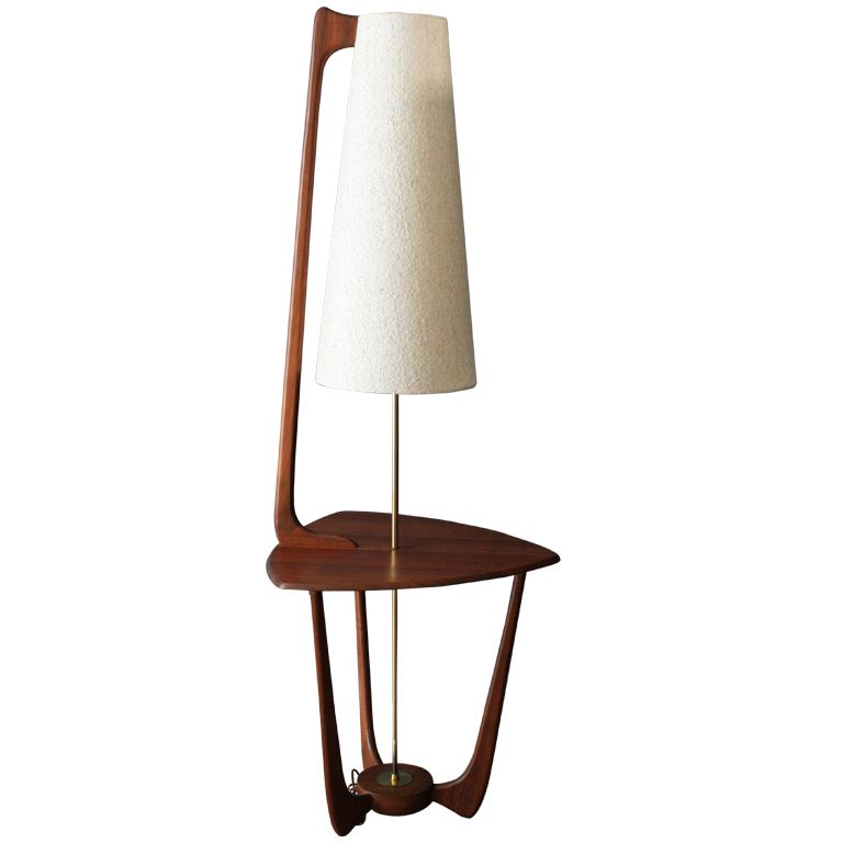 1950s Mid Century Modern Walnut Floor Lamp With Side Table