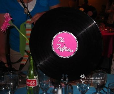 Album centerpiece. Could also make a bowl out of an album and use that to put something in.
