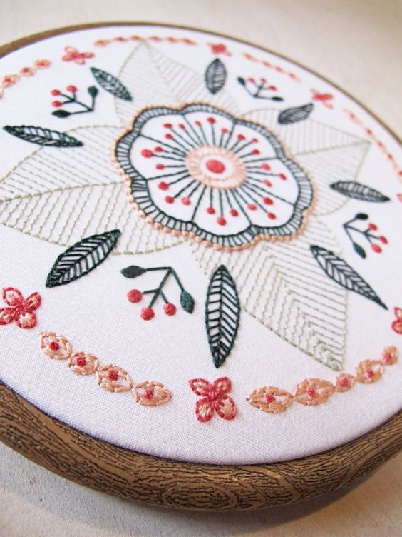 FLORAL MANDALA pdf embroidery pattern, circular flower, embroidery ...