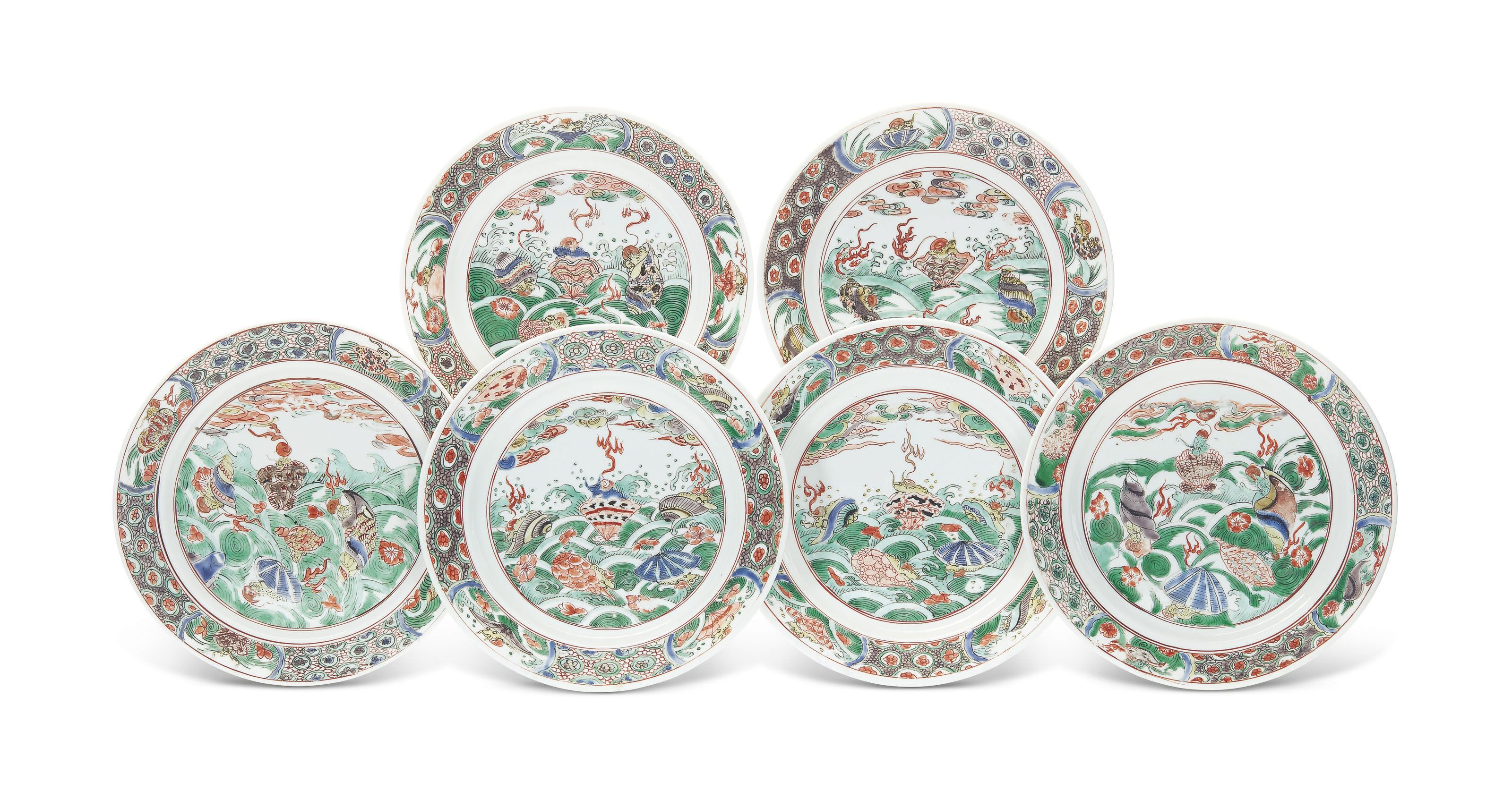 A Set Of Six Famille Verte Plates Kangxi Period Circa 1680 All Other Categories Of Objects Plates Dishes Christie S Chinese Ceramics Kangxi Famille