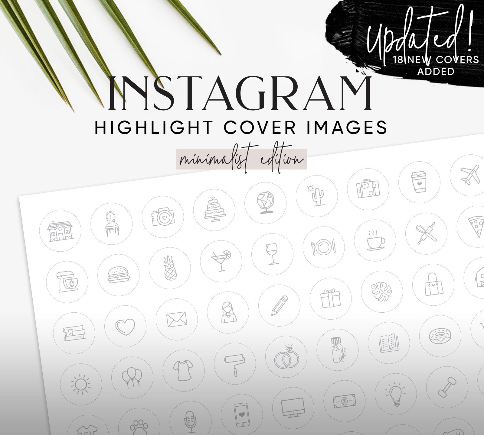 132 Instagram Highlight Cover Images Minimalist Light Grey Etsy Can Makeup Pencil Gift Lipstick Diamonds