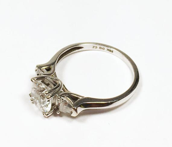 Estate Sterling Silver 925 Victorian Style CZ Diamonique DQ Simulated Diamond Engagement Promise Solitaire Ring Size 5