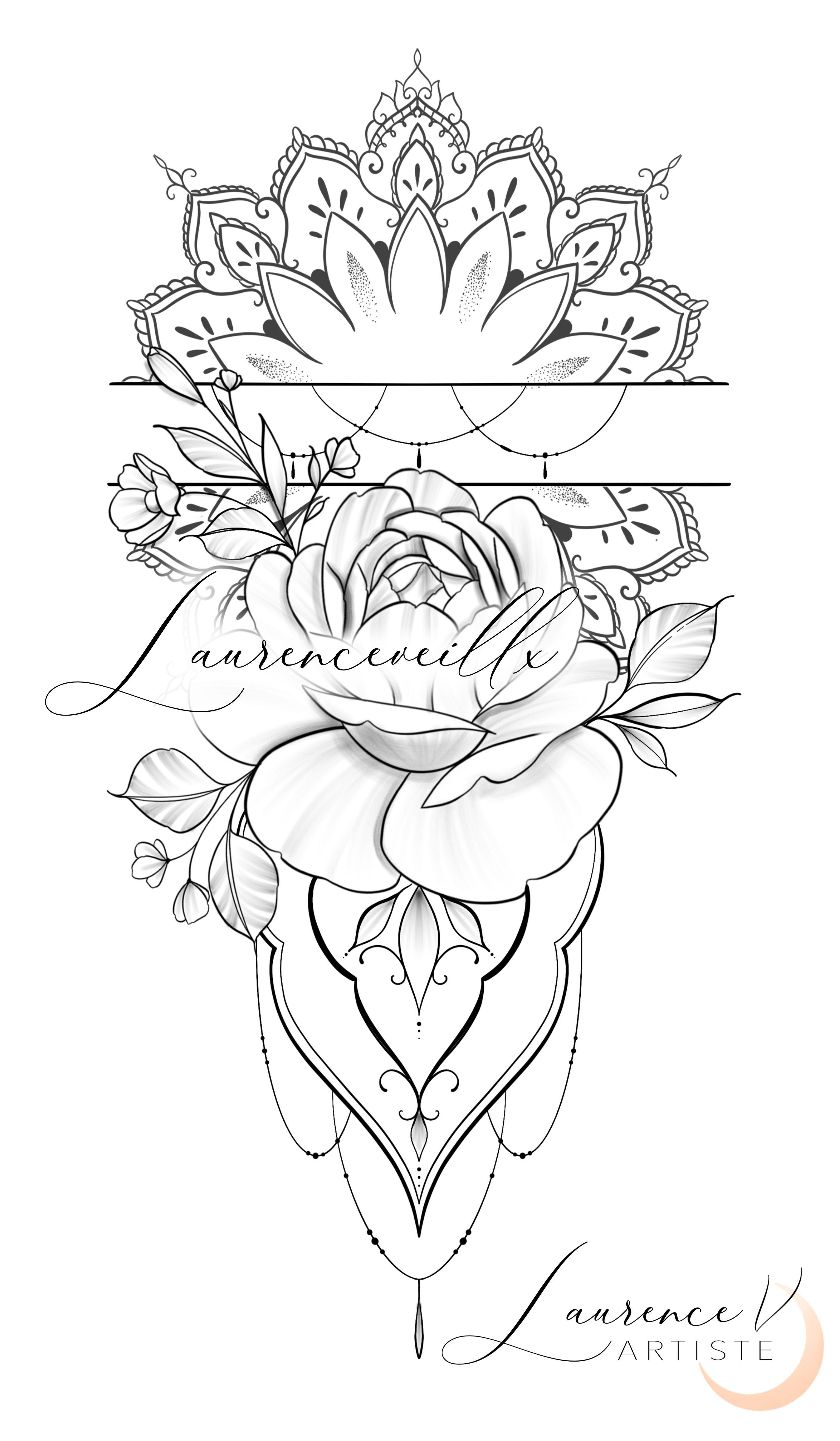 Mandala Roses Ornemental Tattoo Design Instant Download In 2020 Mandala Tattoo Design Tattoo Stencil Outline Feminine Tattoos