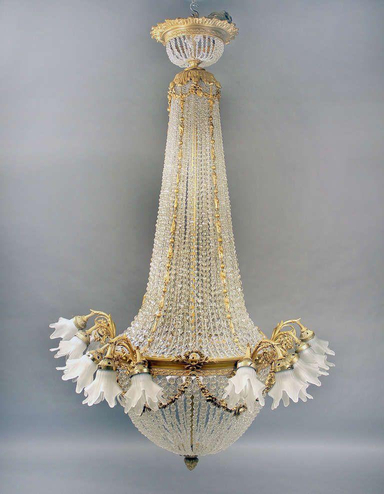 Gilt Bronze And Baccarat Crystal Beaded Basket Chandelier Image 2