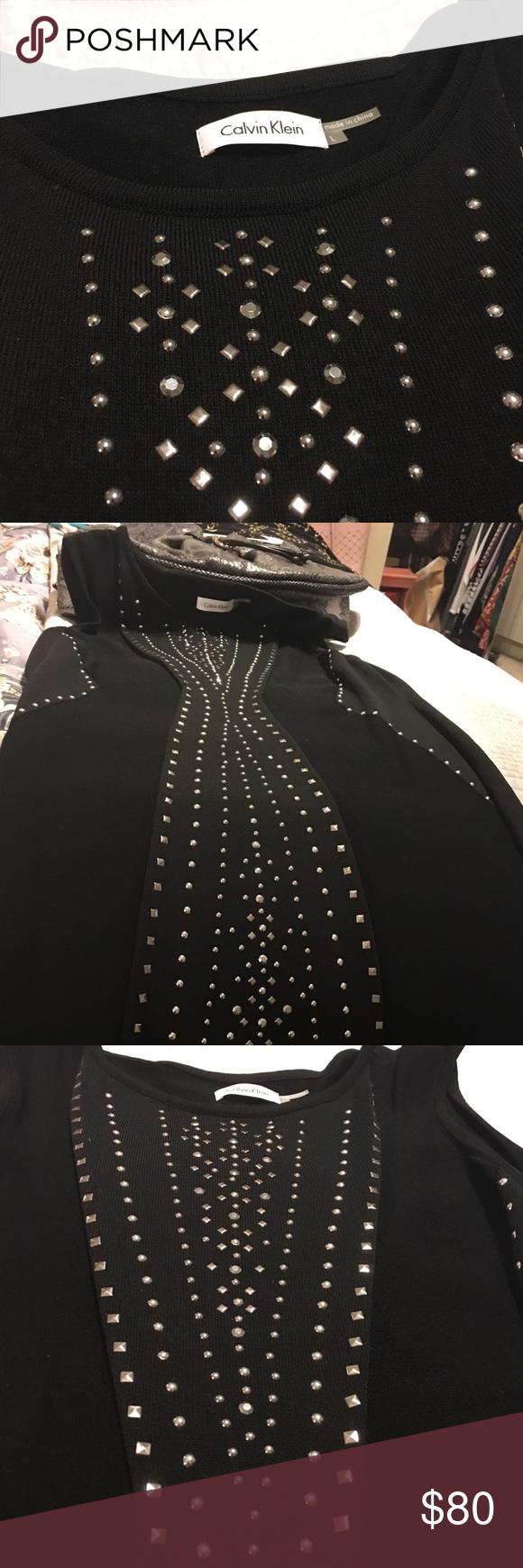 df3fdd884b Black Calvin s Klein knit dress with silver studs Black knit dress never  worn silver studs Calvin