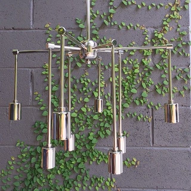 DROP CHANDELIER IN POLISHED NICKEL BY GREY