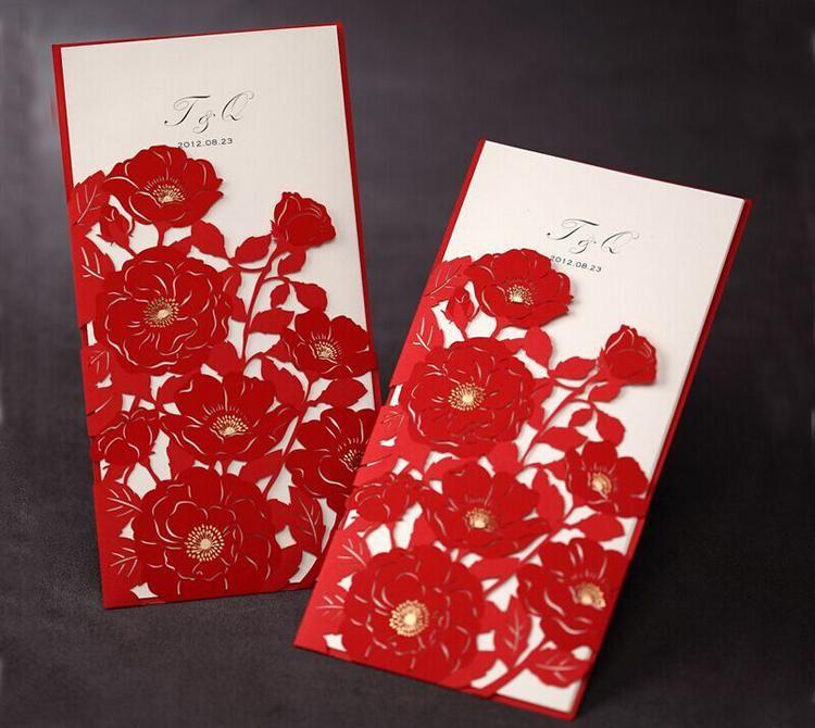 Elegant Wedding Invitation Red Elegant Handmade Laser Cut Chinese ...
