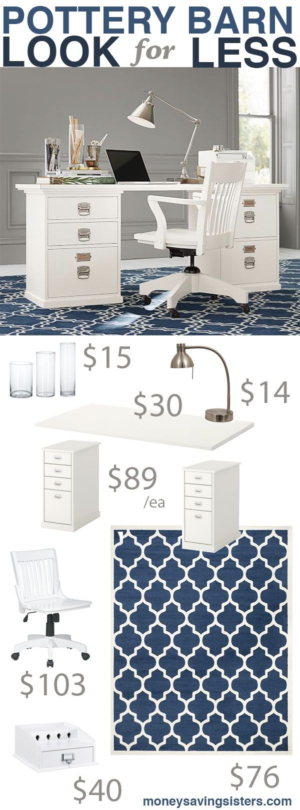 Pottery barn office furniture 2 - This Site Has Lots Of Pottery Barn Knockoffs And Rooms On A Budget Love The Look Of This Pottery Barn Office Makeover