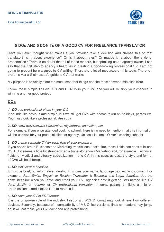 Being A Translator Tips To Successful Cv Http Www Translink Com Ru Office Translink Com Ru Skype Translink Com Ru Freelance Writer Resume Good Cv Good Essay