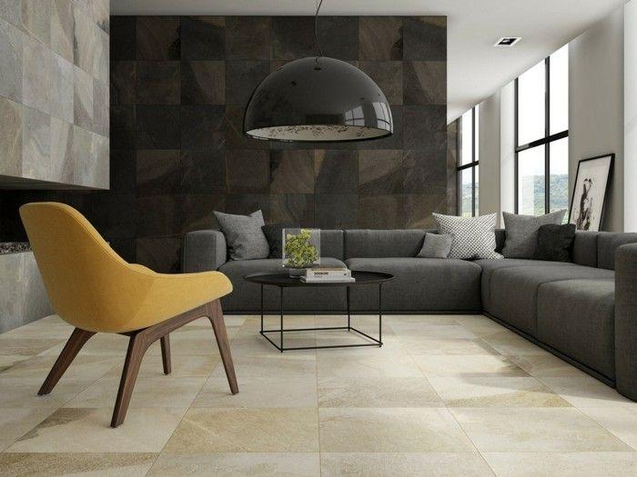 Wohnzimmergestaltung Mit Naturstein Wand