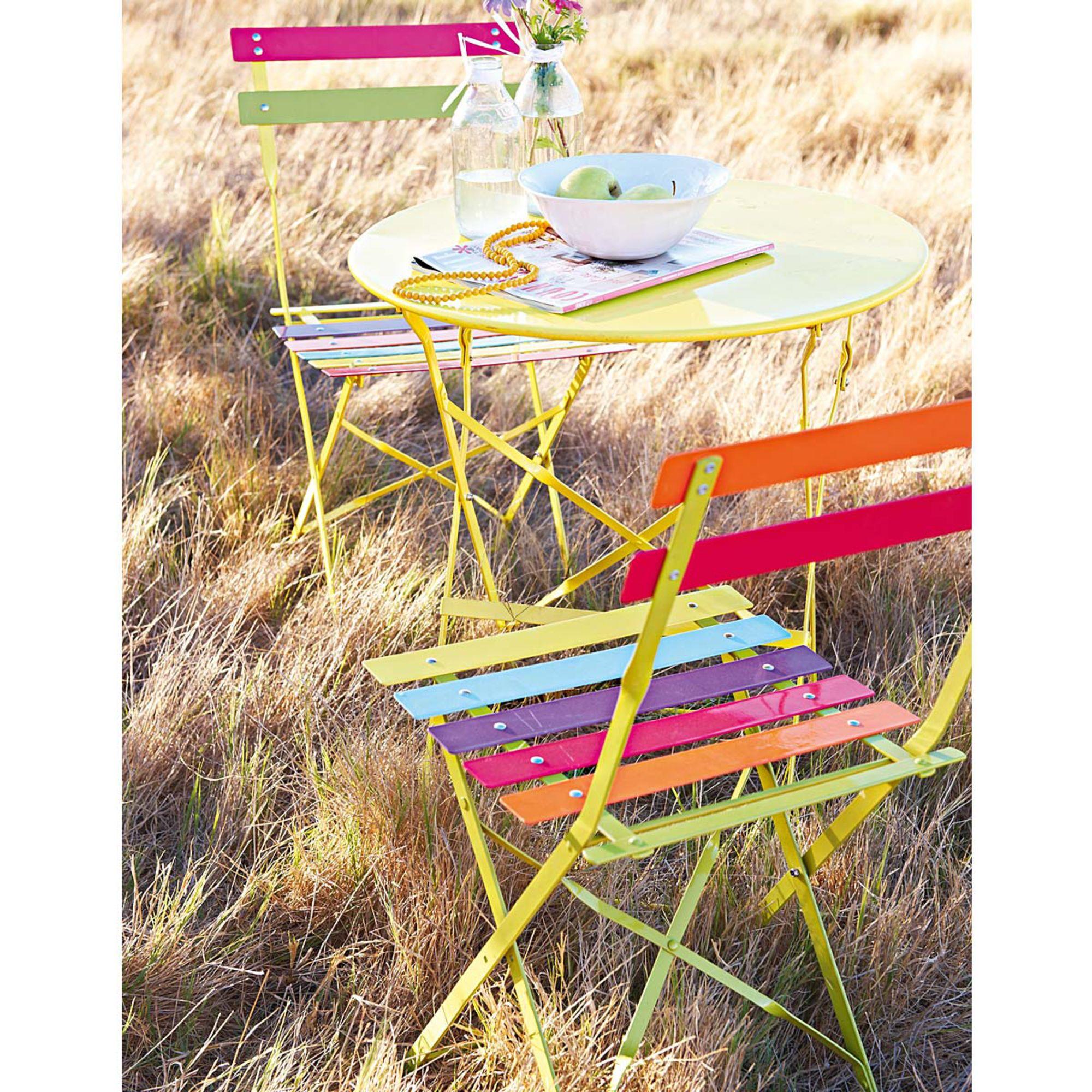 Stuhl Set 2 Tlg Bunt Und Klappbar Aus Lackiertem Metall