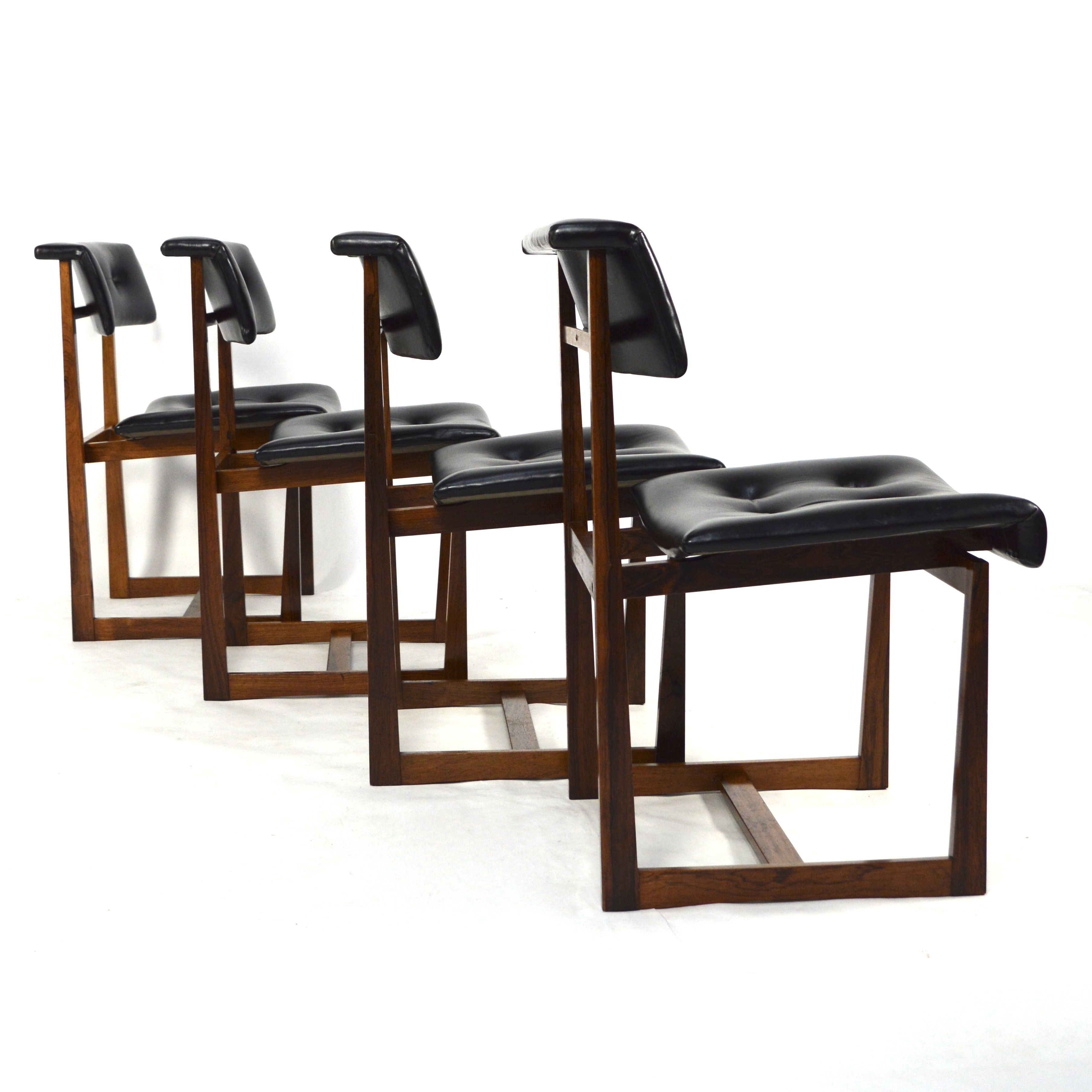 Amazing Set Of 4 Scandinavian Dining Chairs. They Are Made Of Solid  Brazilian Rosewood (Rio Palissander) And Black Leather.