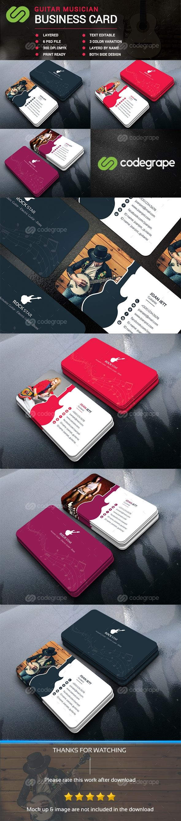 Guitar musician business card business cards musicians and card this is a guitar musician business card template this template download contains a 300 dpi print ready cmyk psd files all main elements are editable and reheart Images