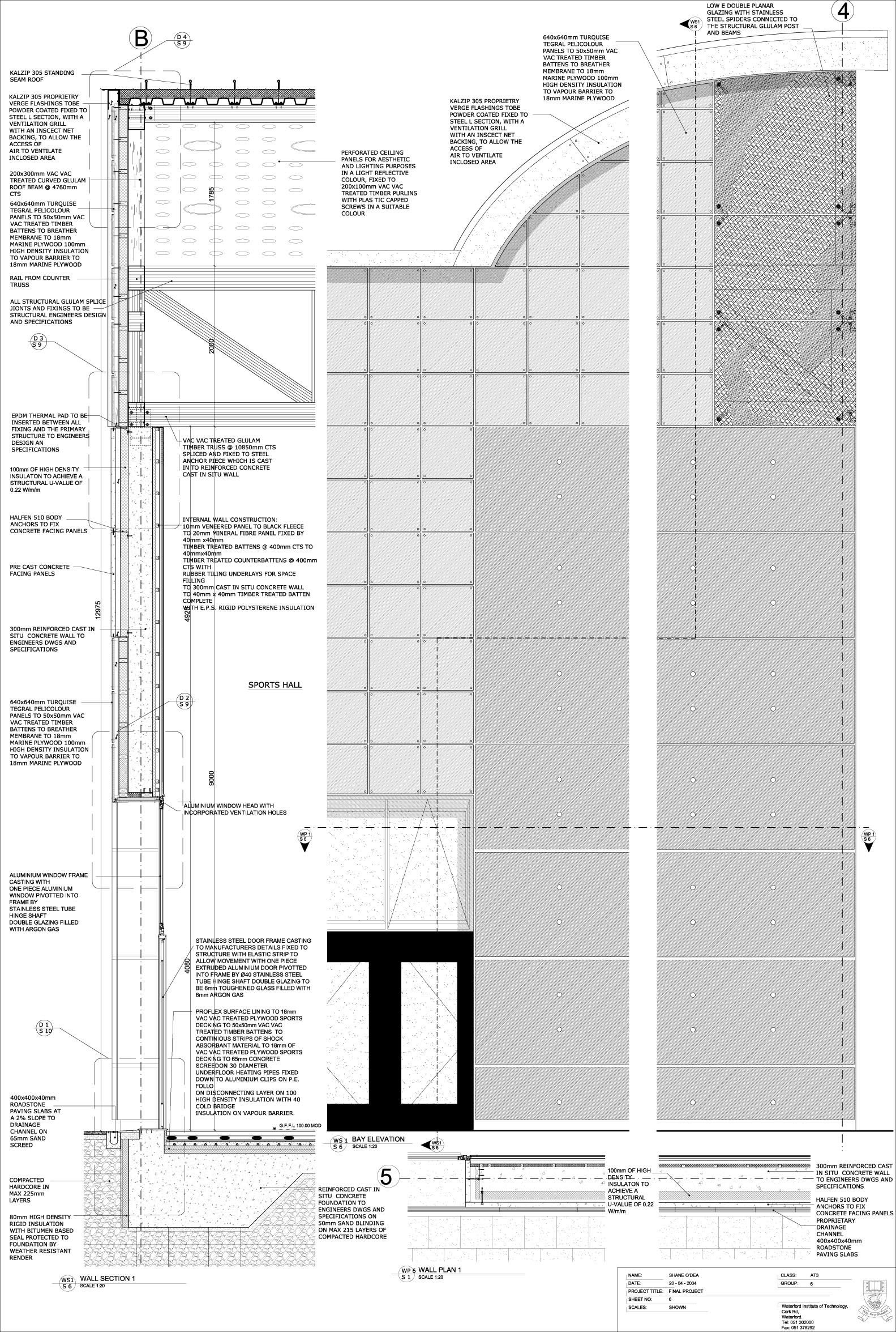 Gymnasium Wall Section Architecture Drawing Architecture Details Architecture