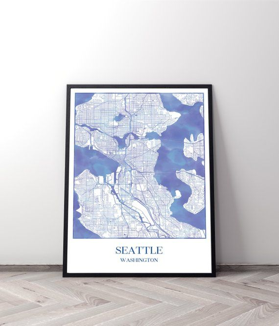 This Seattle map, printable purple watercolor, new job
