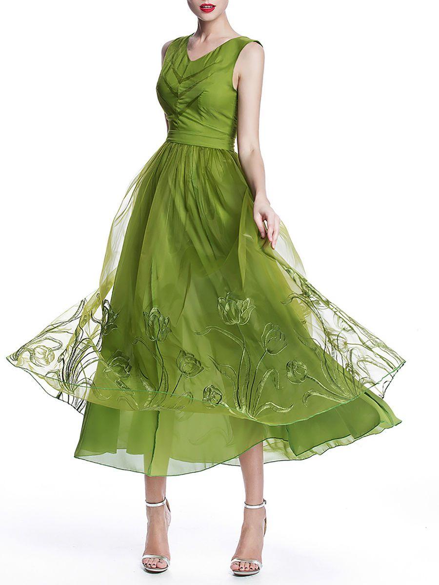 Green organza embroidered v neck sleeveless maxi dress chiffon
