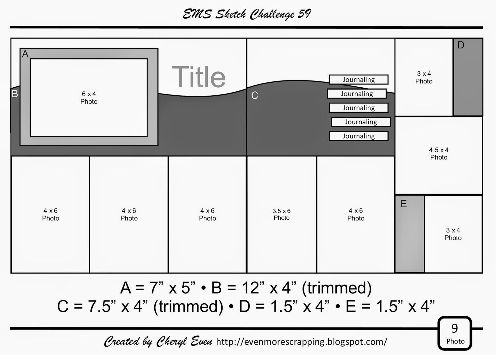 EMS layout sketch 59.... for 9 photos!.... includes five 4x6's!!