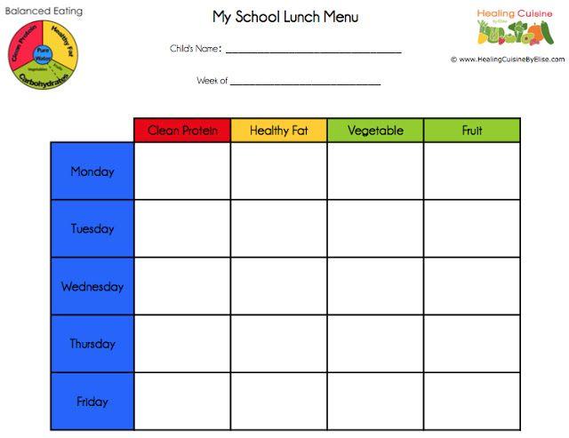 Healing Cuisine School Lunches Part 3 Menu Planning School