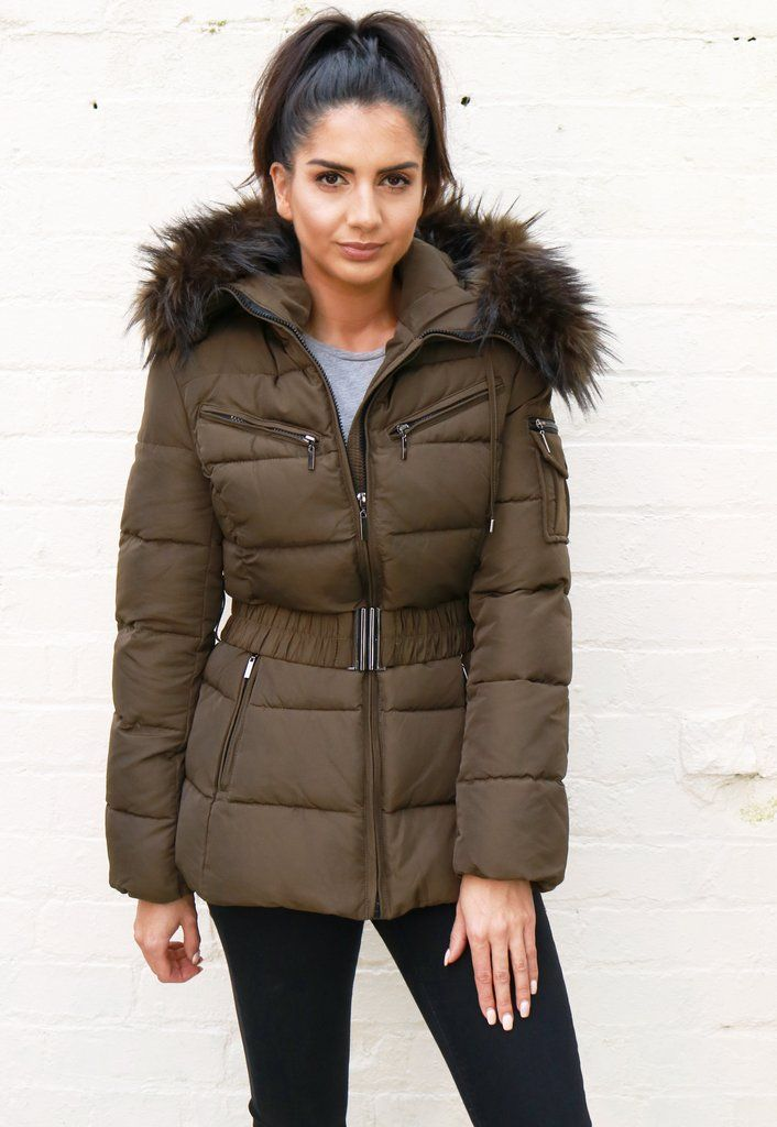 8b30a6898 Harper Quilted Longline Hooded Puffer Coat with Faux Fur Trim & Belt in  Khaki Green