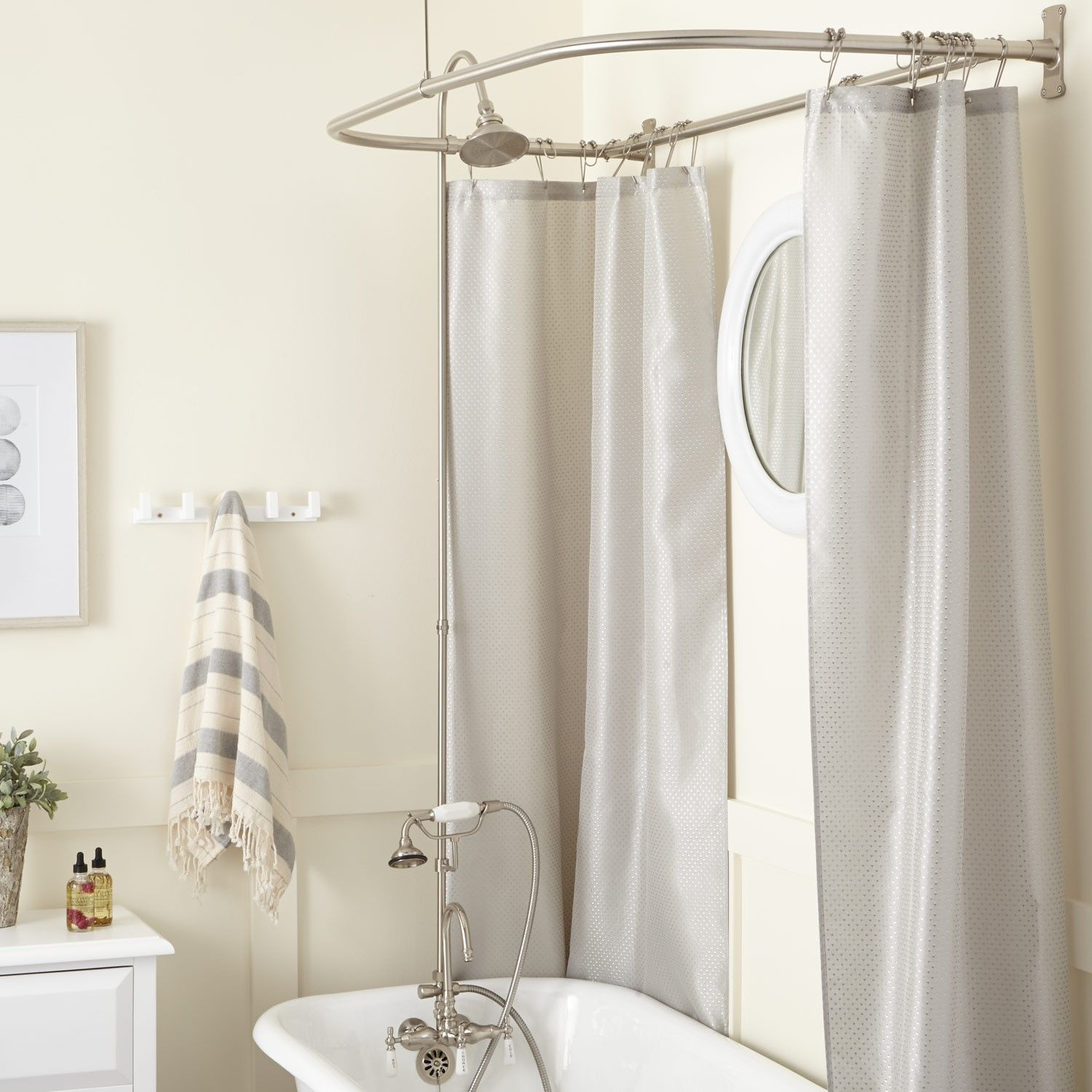Gooseneck Clawfoot Tub Shower Conversion Kit - D Style Shower Ring ...
