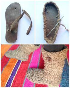 Botas tejidas sobre suela de havaiannas - Upcycled crocheted boots - Mamy a la obra