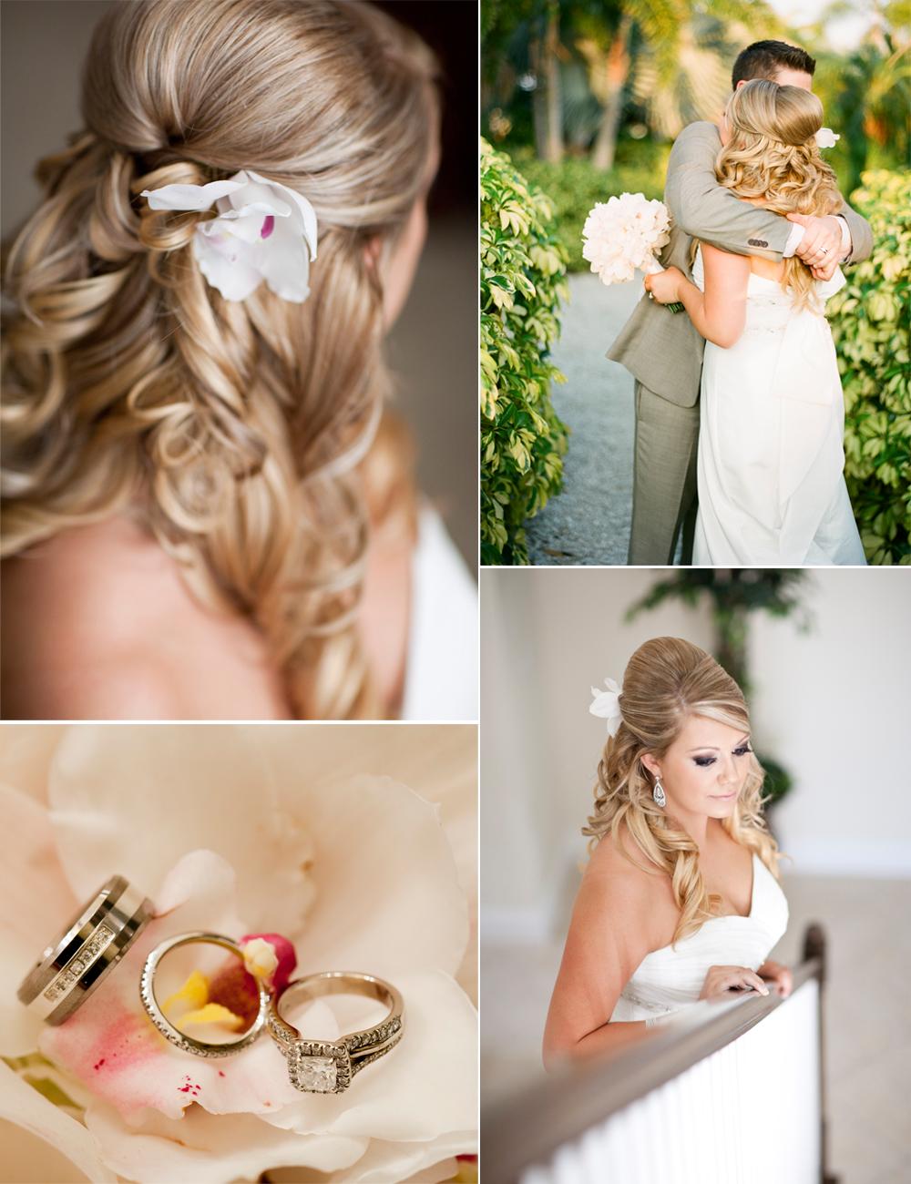 Half Up Wedding Hairstyle Real Weddings Summer Beach Theme Half Up Wedding Wedding Hair Inspiration Half Up Wedding Hair
