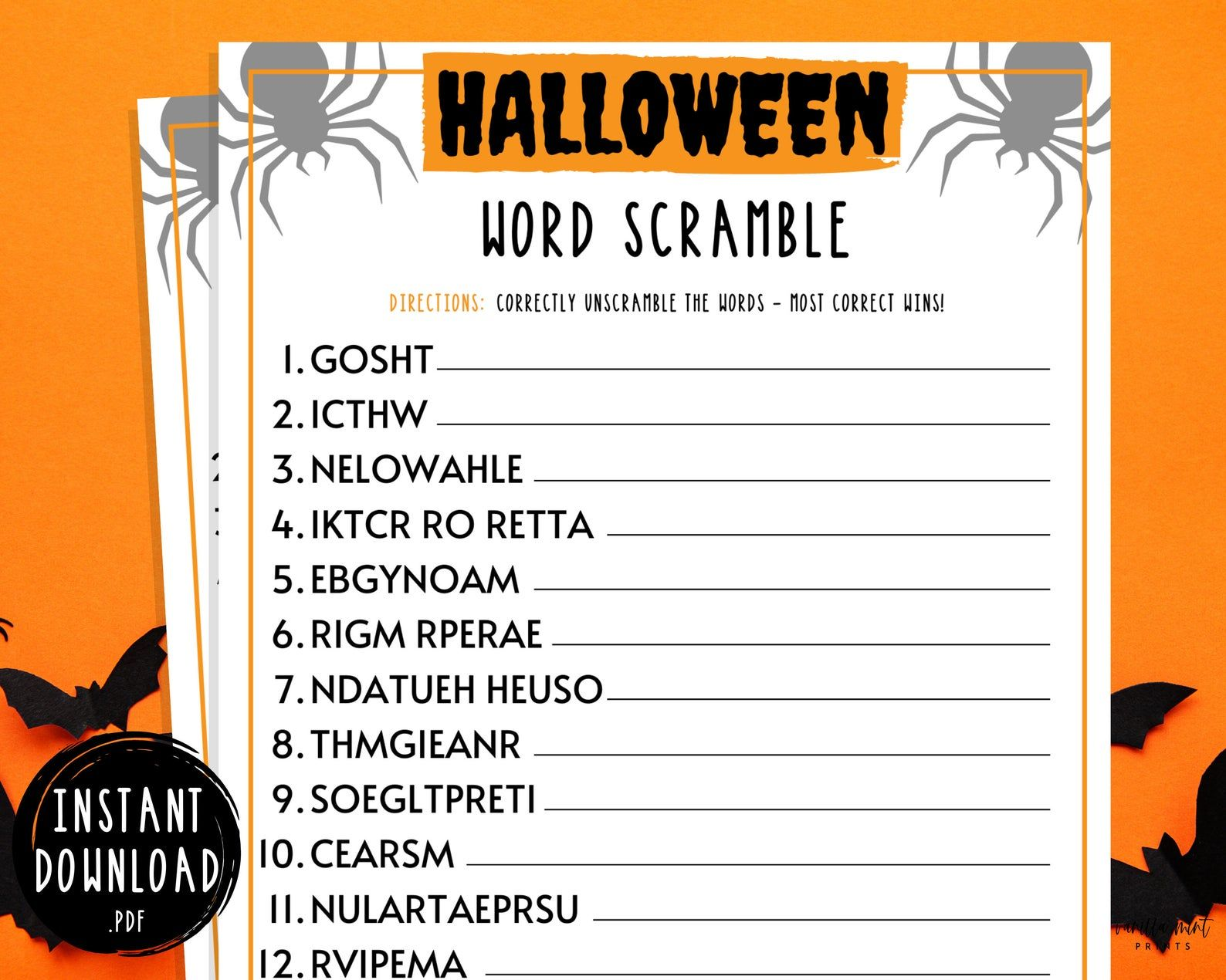 Halloween Word Scramble Game Halloween Printable Games