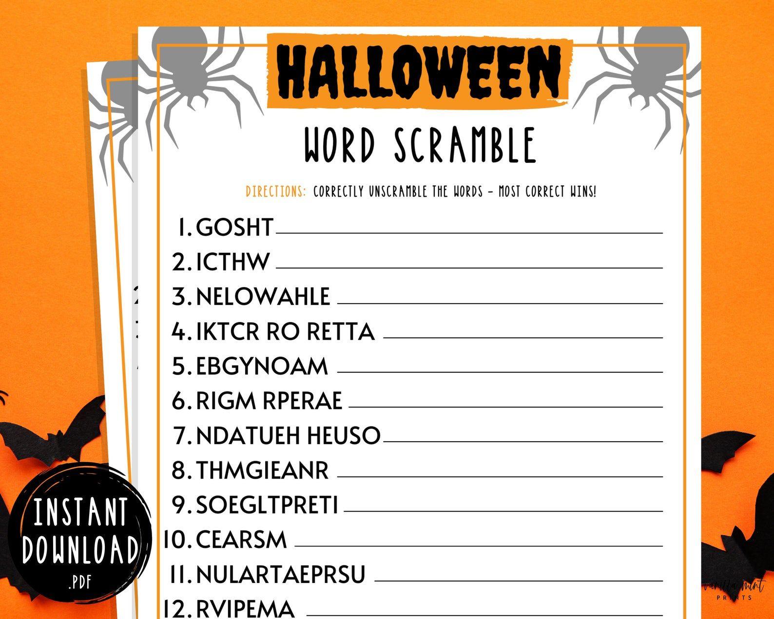 Halloween Word Scramble Game Halloween Printable Games