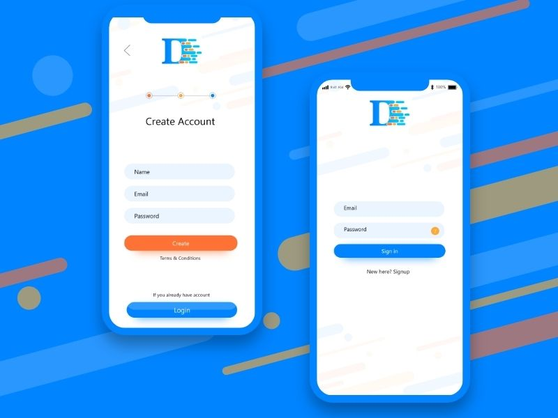 Sign up and Sign in screen Design | Mobile ui | Screen