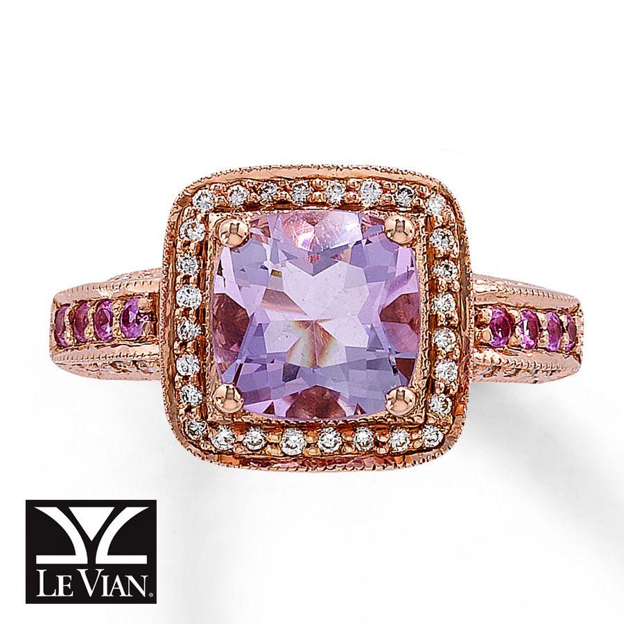 Cushioncut amethyst ring 15 ct tw diamonds 14k gold 372018200