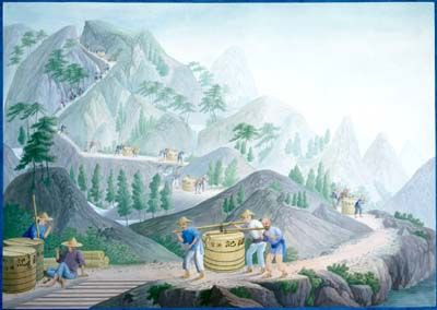chinese painting, gouache on pith paper, showing the transporting of porcelain through the hills of Guangdong, about 1820