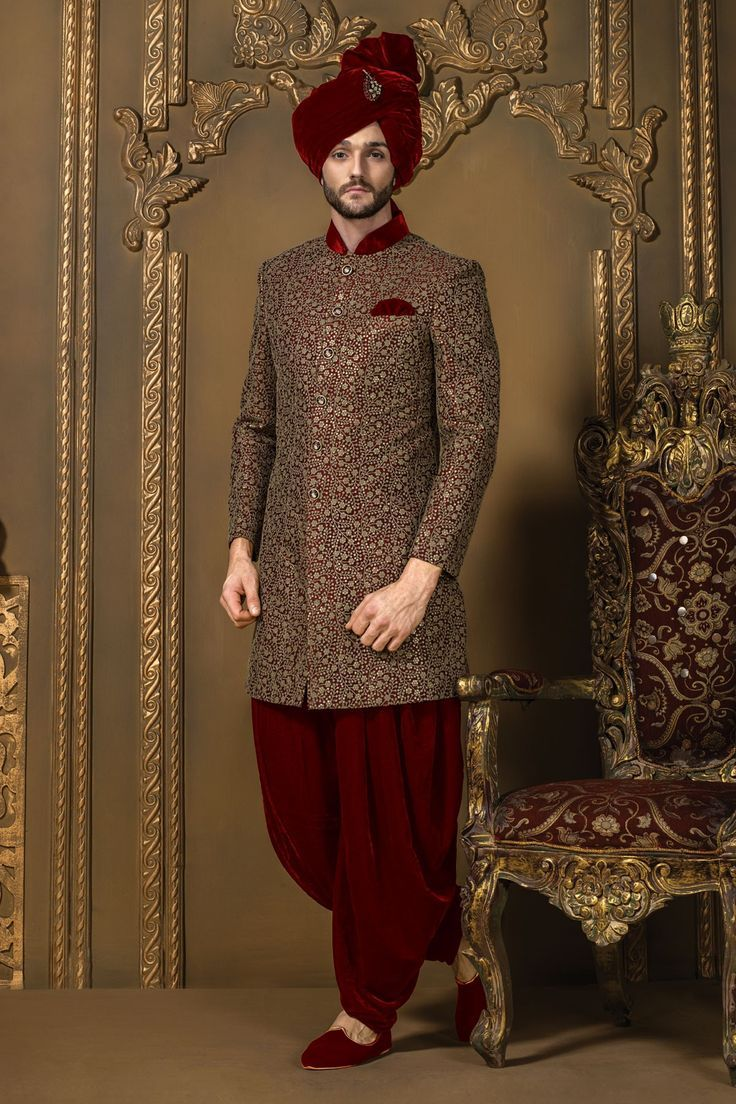 Pin by prits dhanjal on groom photography pinterest for Indo western wedding dress for men