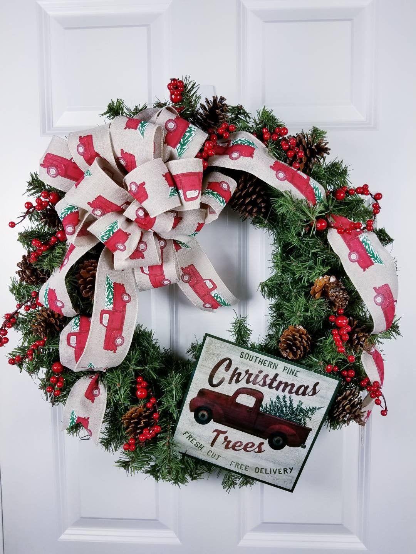 Evergreen wreath for front door, Artificial evergreen