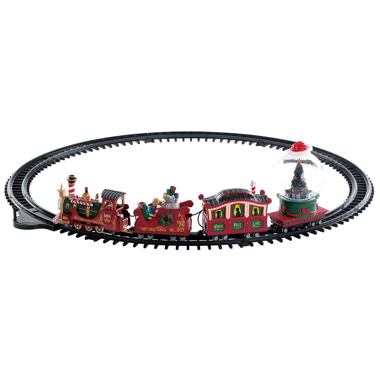 The train runs on the tracks.<br /> When activated, Christmas Tree ...