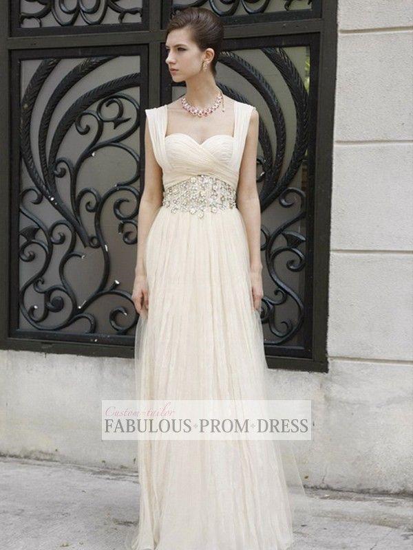 2013 Style A-line Straps Ruffles Sleeveless Floor-length Tulle Prom Dresses / Evening Dresses (SZ0259916) - FabulousPromDress.com