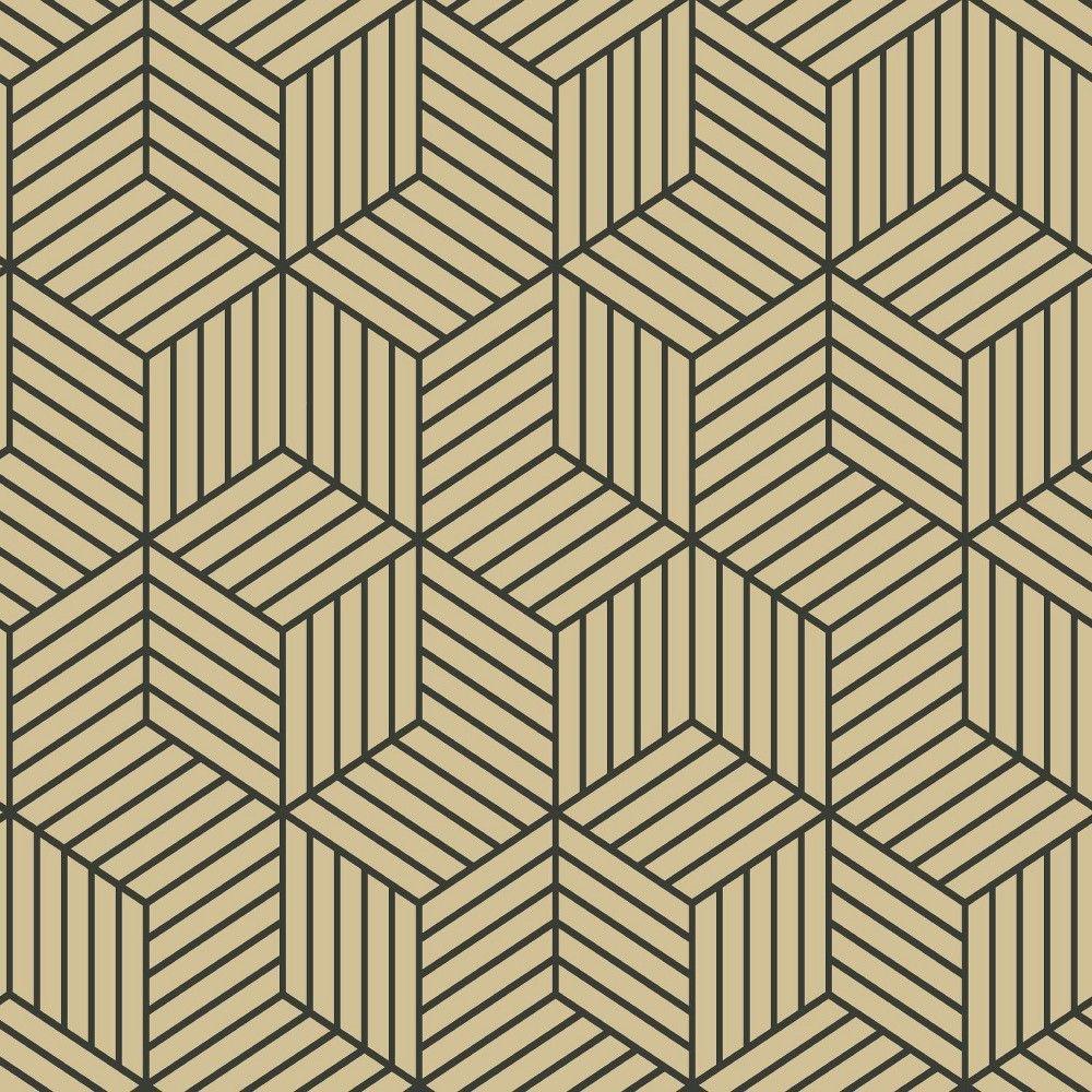Roommates Striped Hexagon Peel Stick Wallpaper Gold Black Wallpaper Roll Peelable Wallpaper Vinyl Wallpaper