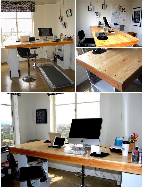Standing Desk, Treadmill Desk, Creative Office Space. #treadmilldesk # Standingdesk #DIY