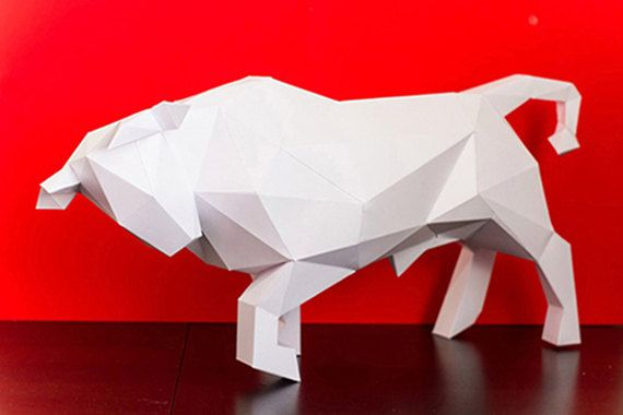 Papertrophy Bull Papercraft Pdf Diy Low Poly Paper Cow Papercraft