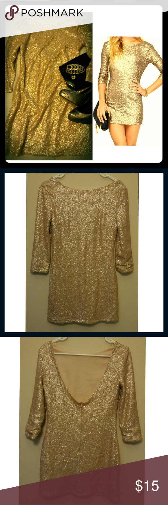 Tobi see me sequin small Body con sequin dress with pinkish tinted gold sequin.   Fun party dress with open back. Worn once. Small detail in last pic shows a tiny patch of missing sequins  not noticeable when wearing. Size is medium on tag but fits more like a small. Tobi Dresses Mini