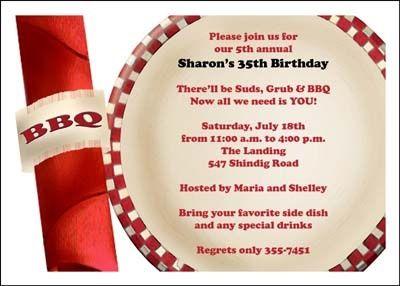35th birthday bbq party invites at