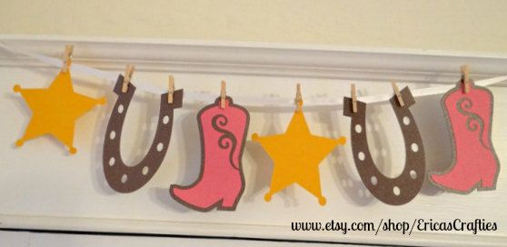 Western Cowgirl Banner Decoration Birthdays by EricasCrafties
